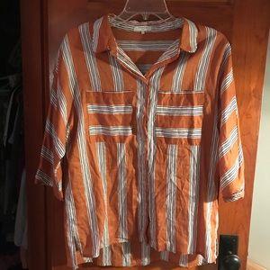 FRNCH striped boyfriend button down with pockets